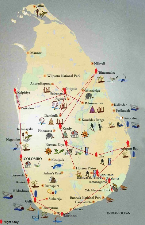 Sri Lanka travel route map International Backpacking